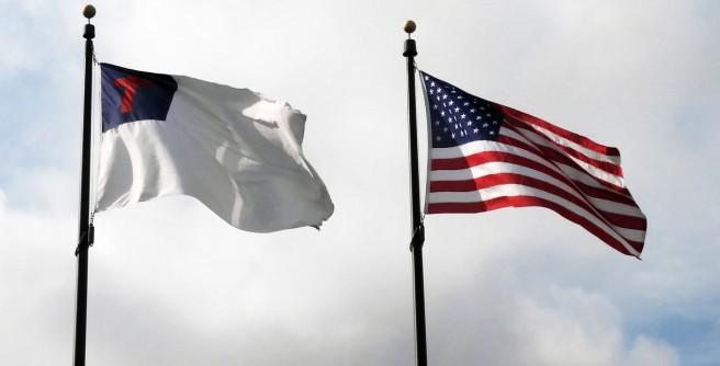 Christian flag and USA flag