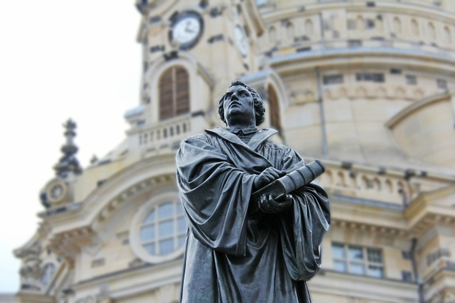 Martin Luther statue outside The Church of Our Lady in Dresden, Germany.