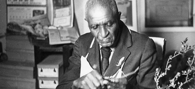George Washington Carver in his lab.