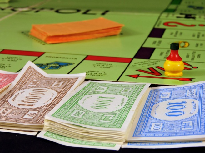 Monopoly board and money.