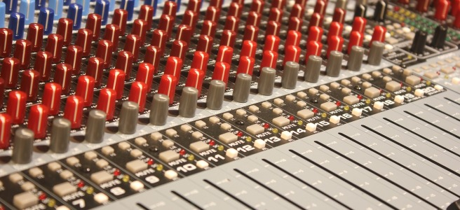 soundboard with faders and mixers