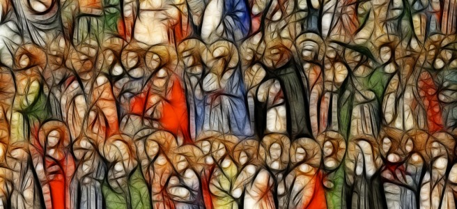 a colorful drawing of saints